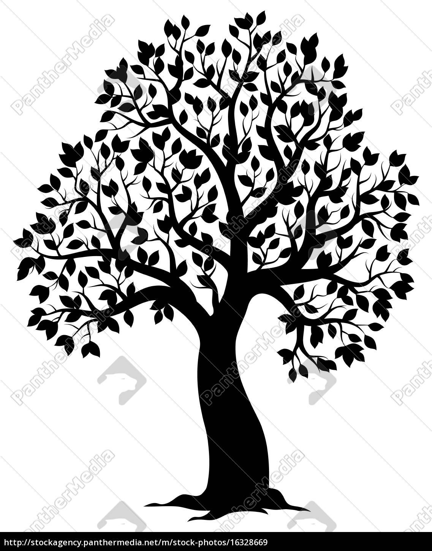 silhouette, of, leafy, tree, theme, 3 - 16328669