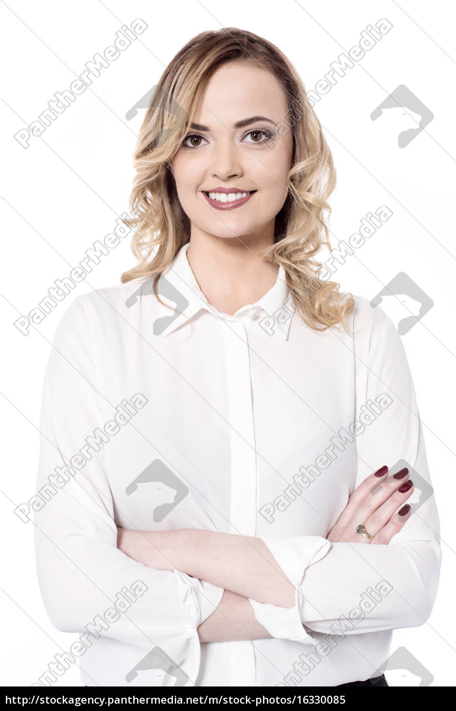smiling, woman, isolated, on, white - 16330085