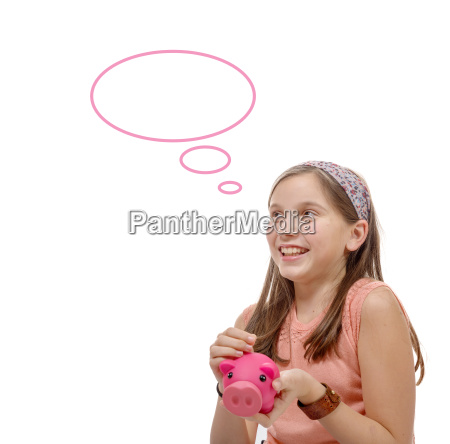 preteen, think, with, a, piggy, bank, - 16339411
