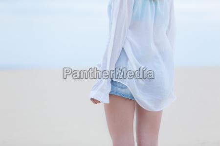 beautiful sensual girl alone at beach