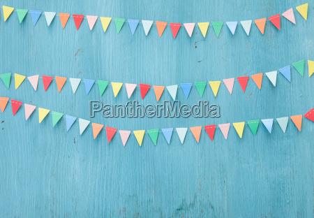 colorful, garland, on, blue - 16341299