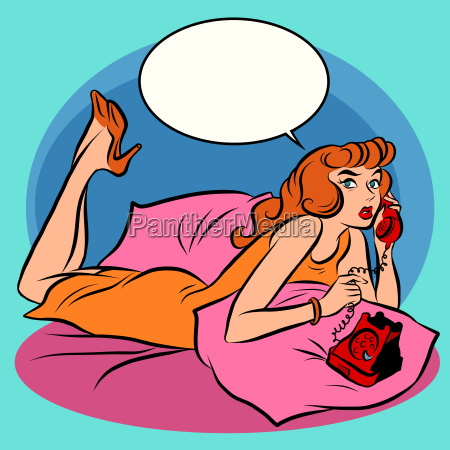 retro, girl, talking, on, phone - 16345305