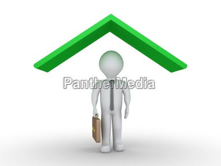 businessman under roof