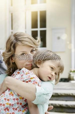 germany hesse frankfurt mother holding little