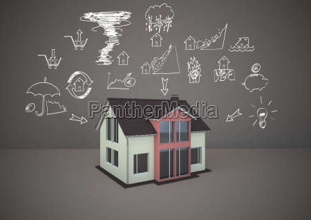 3d rendering family home with drawings