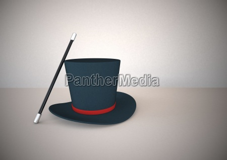 magic wand and top hat 3d