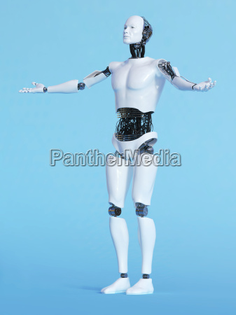 robot man in welcoming pose