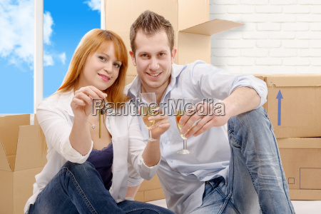 couple, celebrating, their, new, home, , keys - 16357255