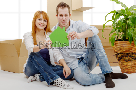 smiling, young, couple, sitting, after, moving - 16357257