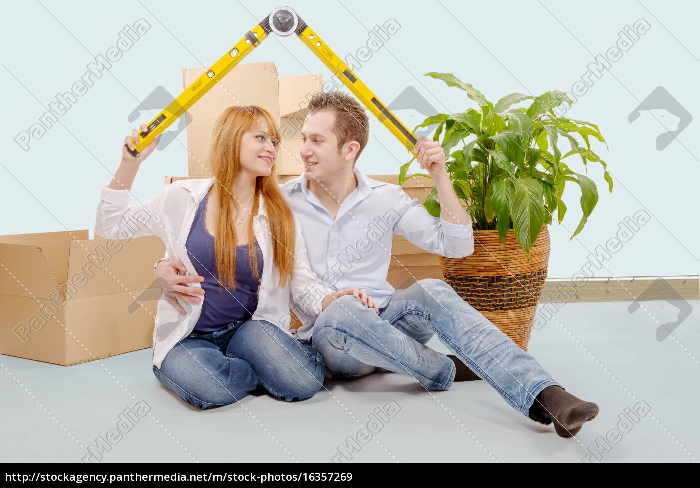 smiling, young, couple, sitting, after, moving - 16357269