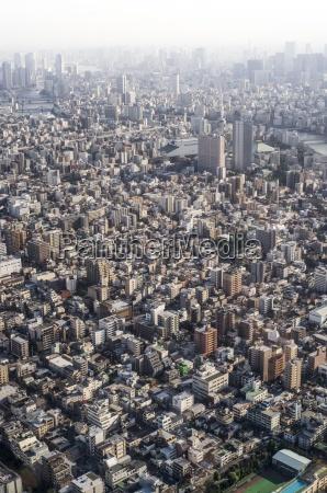 japan tokyo view towards asakusa and