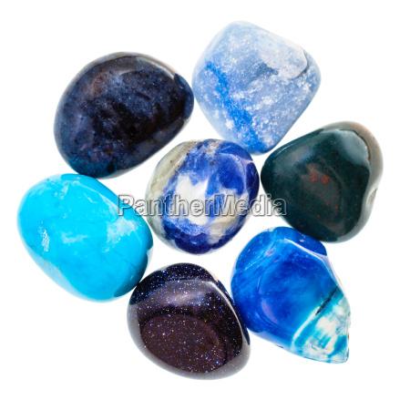pile of blue natural mineral gemstones