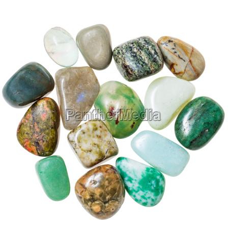 pile of green natural mineral gemstones