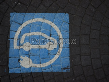 spain pavement with pictogram for parking