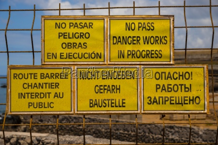 spain tenerife five construction site signs