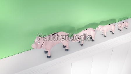 row of thin piggy banks on