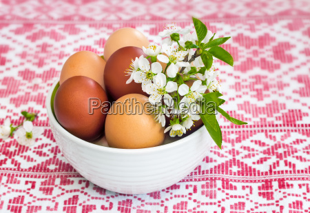 easter eggs on the table in