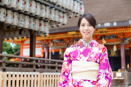 asian woman wearing the traditional japanese