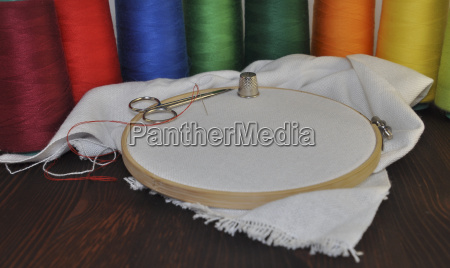 workplace for embroidery and sewing
