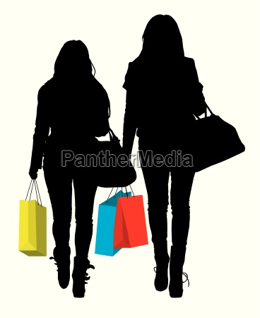 silhouette of two women with