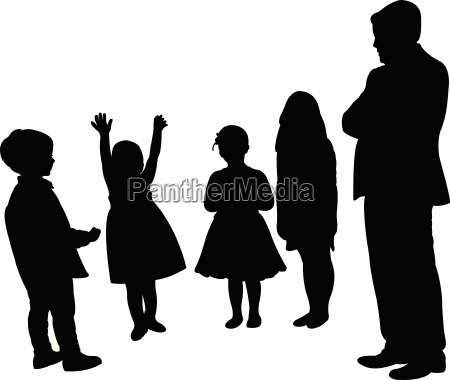 man and children silhouette vector