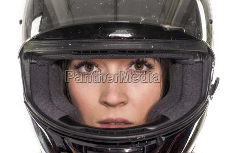 woman portrait with helmet