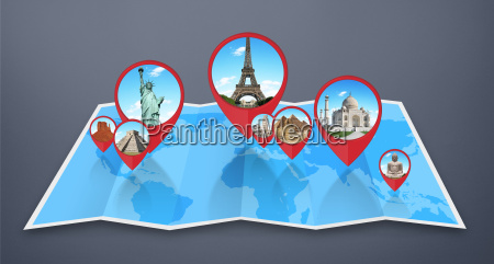 monuments of the world on a