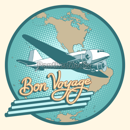 bon voyage abstract retro plane poster