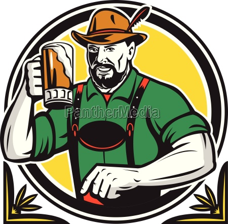 oktoberfest german beer drinker circle retro