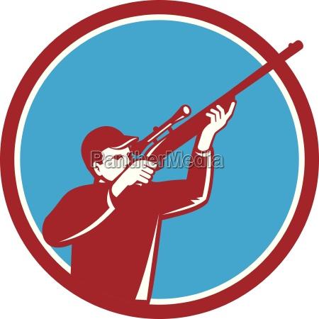 hunter shooting up rifle circle retro