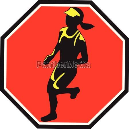female marathon runner octagon retro