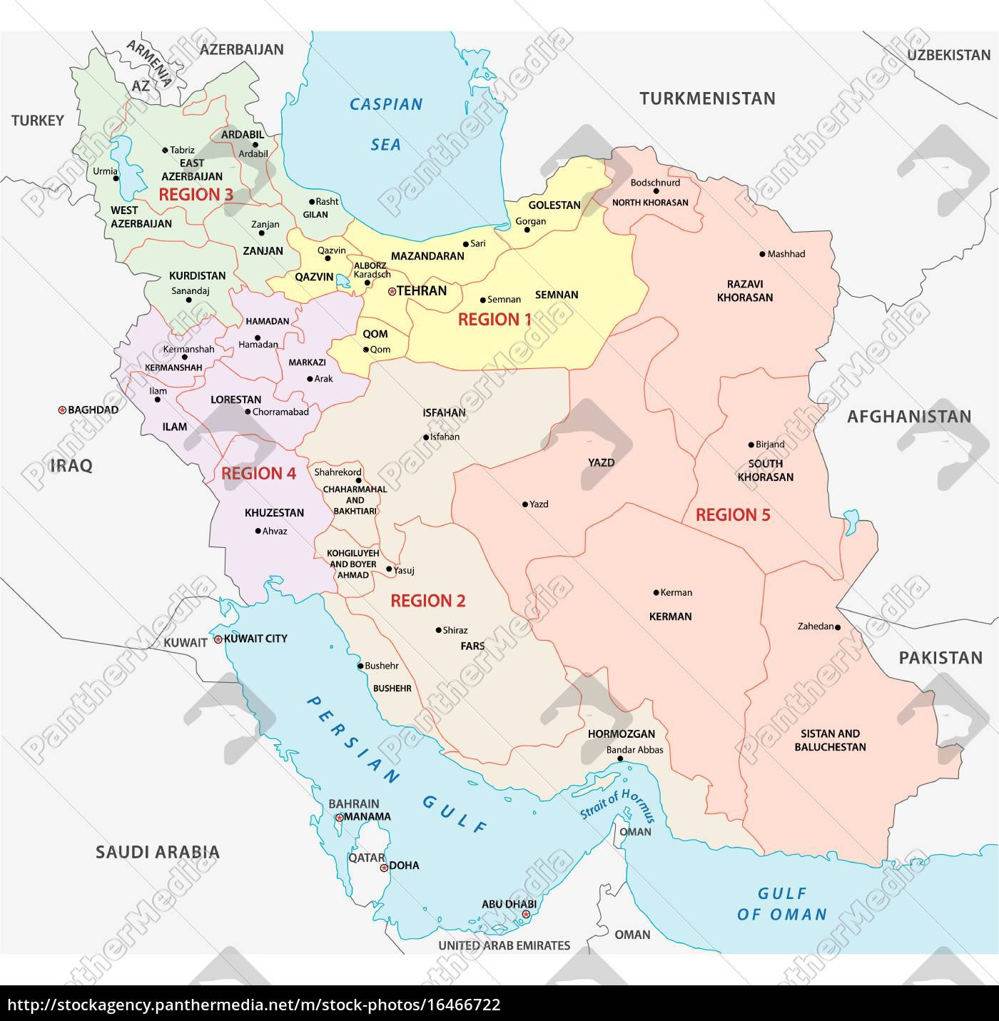 Image of: Iran Administrative And Political Map Regions Stock Image 16466722 Panthermedia Stock Agency