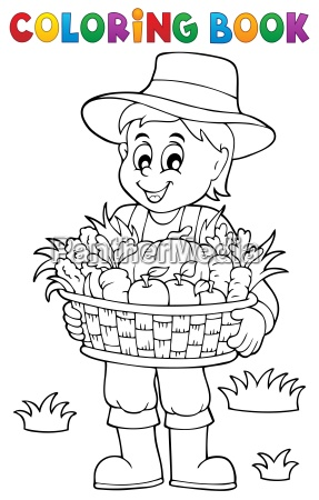 coloring book farmer with harvest 1