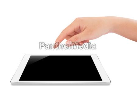 female hand touching on mock up