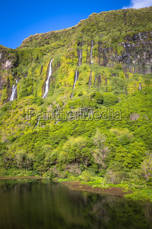 azores landscape with waterfalls and cliffs