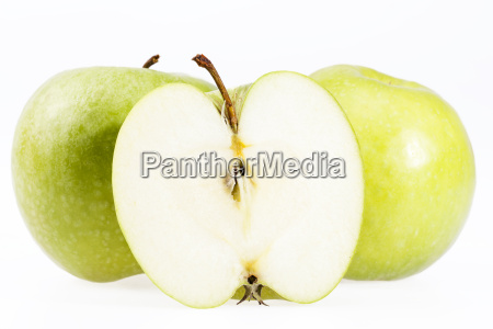some fruits of green apple isolated