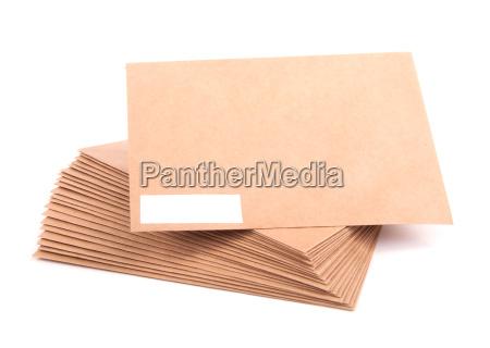 blank envelopes isolated on white background