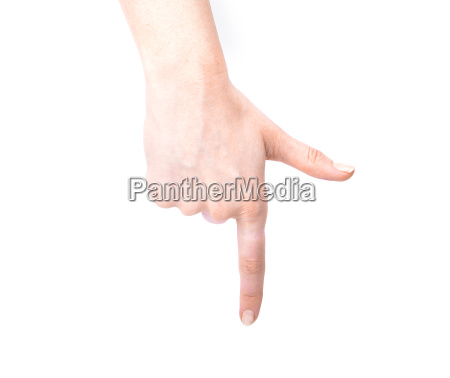 female hand showing gesture on an