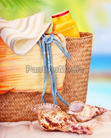 still life of beach items