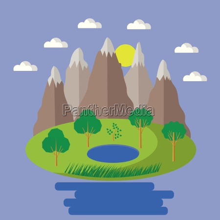 spring landscape isolated nature landscape with