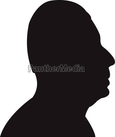 a fat man head silhouette vector