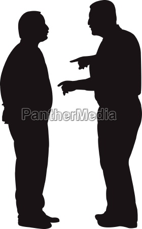 black silhouettes of two men standing