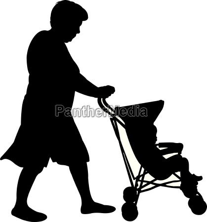 mother with baby stroller