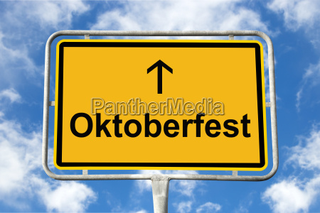 yellow signpost oktoberfest munich germany