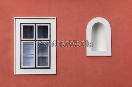 closed window with wall niche