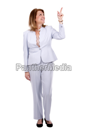 business caucasian woman pointing