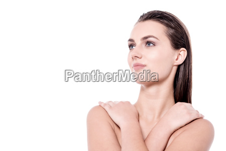 woman covering her body