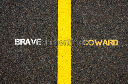 antonym concept of brave versus coward