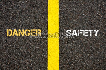 antonym concept of danger versus safety