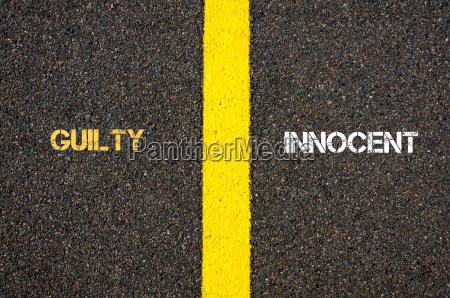 antonym concept of guilty versus innocent